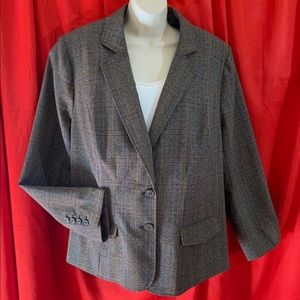 LANE BRYANT Gray Brown Plaid Blazer Jacket Size 22